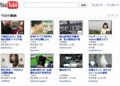 YouTubeのトップページ画像